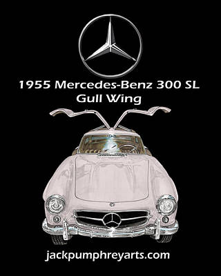 1955 Mercedes Benz 300 S L Gull Wing Poster by Jack Pumphrey