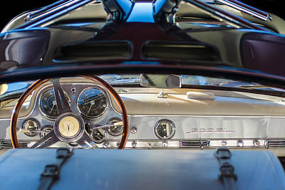 1955 Mercedes-benz Gullwing Dashboard - Steering Wheel Poster