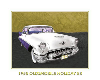 1955 Olds Holiday 88 Poster by Jack Pumphrey