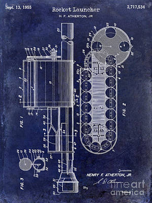 1955 Rocket Launcher Patent Drawing Blue Poster