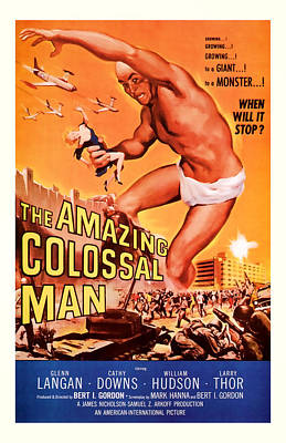 1955 The Amazing Colossal Man Vintage Movie Art Poster