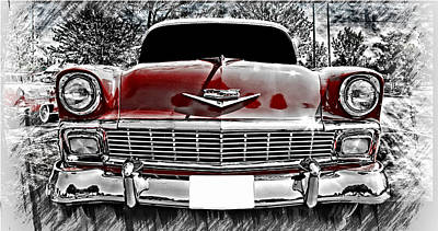 Vehicles Poster featuring the photograph 1956 Chevy Bel Air by Aaron Berg