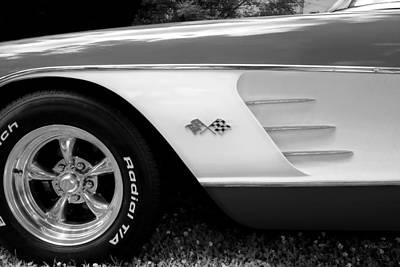 1956 Corvette Black And White Photograph Poster