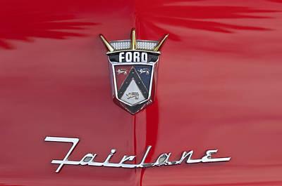 1956 Ford Fairlane Hood Emblem Poster by Jill Reger