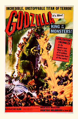 1956 Godzilla Vintage Movie Art Poster