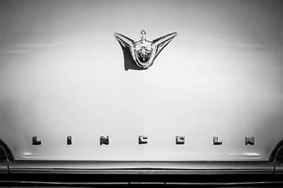 1956 Lincoln Premiere Hood Ornament - Embelm -1110bw Poster by Jill Reger