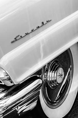 1956 Lincoln Premiere Rear Emblem  - Wheel -0828bw Poster by Jill Reger