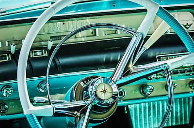 1956 Lincoln Premiere Steering Wheel -0838c Poster by Jill Reger