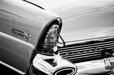 1956 Lincoln Premiere Taillight Emblem -0887bw Poster
