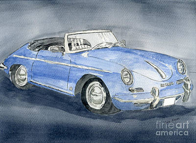 Poster featuring the painting 1956 Porche 356b Roadster by Eva Ason
