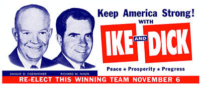 1956 Vote Ike And Dick Poster