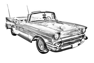 1957 Chevrolet Bel Air Convertible Illustration Poster by Keith Webber Jr