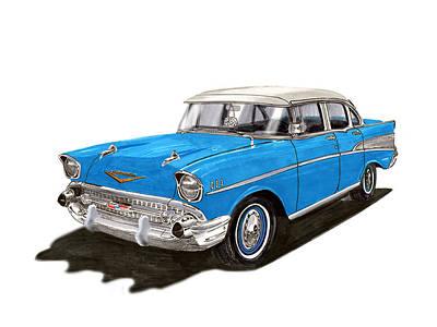 1957 Chevy Four Door Sedan Poster