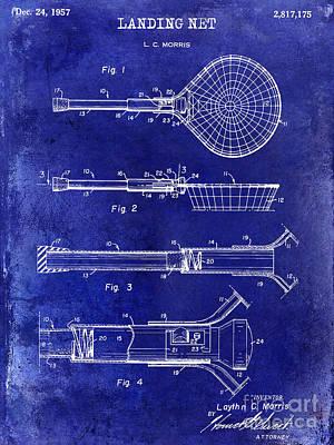 1957 Landing Net Patent Drawing Blue Poster by Jon Neidert