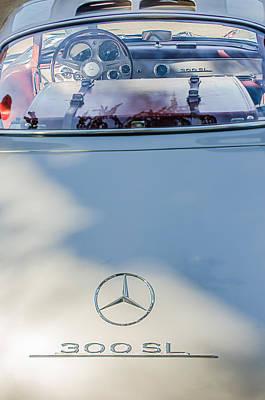 1957 Mercedes-benz Gullwing 300 Sl Rear Emblem Poster by Jill Reger