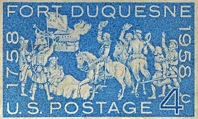 1958 Battle Of Fort Duquesne Stamp Poster
