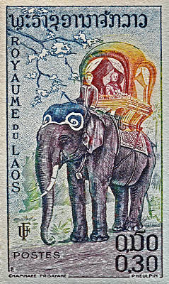 1958 Laos Elephant Stamp Poster