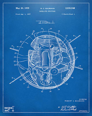 1958 Space Satellite Structure Patent Blueprint Poster by Nikki Marie Smith