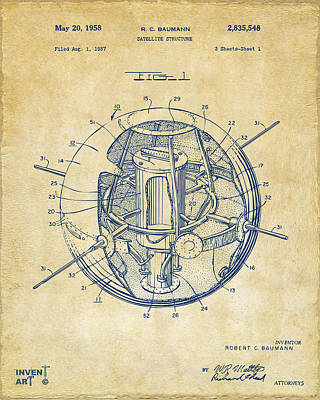 1958 Space Satellite Structure Patent Vintage Poster