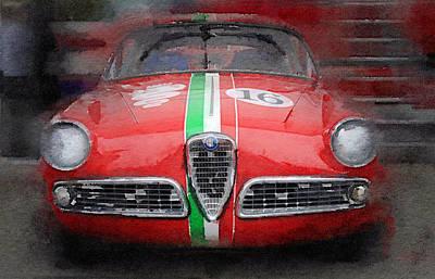 1959 Alfa Romeo Giulietta Watercolor  Poster by Naxart Studio