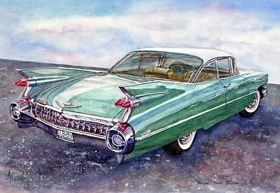 Poster featuring the painting 1959 Cadillac Cruising by Anna Ruzsan