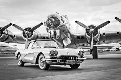 1959 Chevrolet Corvette - B-17 Bomber Poster by Jill Reger