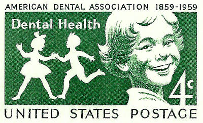 1959 Dental Health Postage Stamp Poster by David Patterson