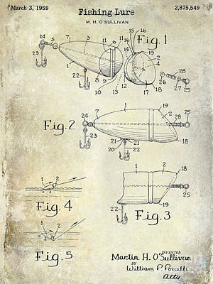 1959 Fish Lure Patent Drawing  Poster