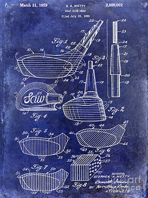 1959 Golf Club Patent Drawing Blue Poster