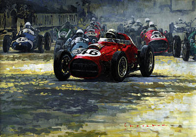 1959 Monaco Gp  #46 Ferrari D246 Jean Behra Poster