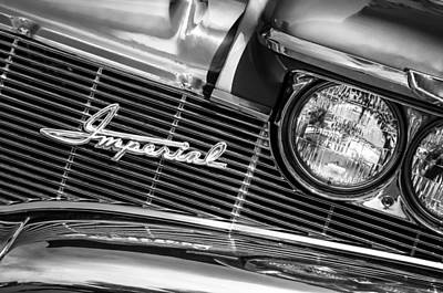 1960 Chrysler Imperial Grille Emblem -0269bw Poster by Jill Reger