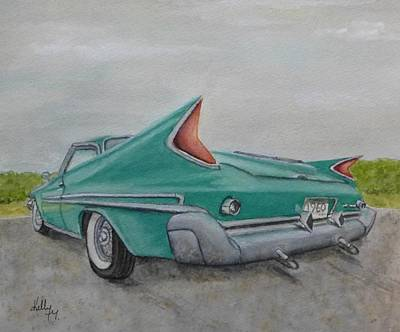 Poster featuring the painting 1960 Classic Saratoga Chrysler by Kelly Mills