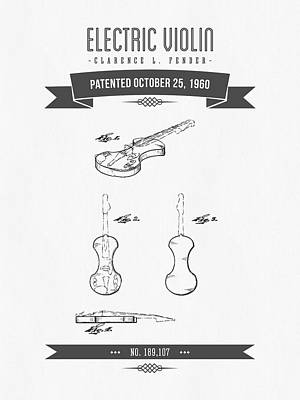 1960 Fender Electric Violin Patent Drawing Poster