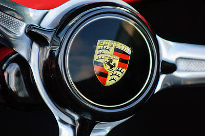 1960 Porsche 356 B Roadster Steering Wheel Emblem Poster by Jill Reger