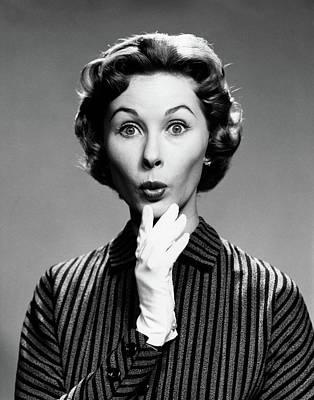 1960s 1950s Portrait Woman White Glove Poster