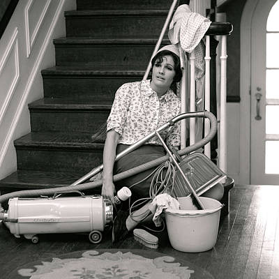 1960s 1970s Exhausted Housewife Sitting Poster