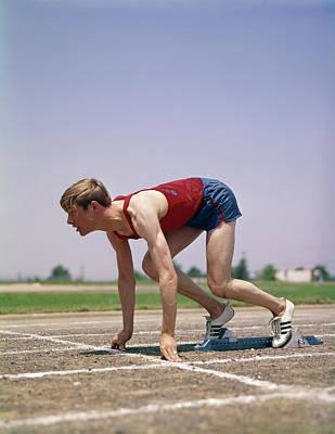 1960s 1970s Profile Athlete Runner Poster