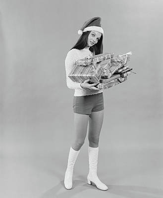 1960s 1970s Young Woman Wearing Santa Poster