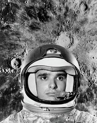 1960s Astronaut Montage Portrait Moon Poster