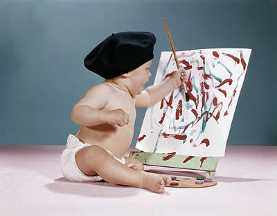 1960s Baby Artist Wearing Black Beret Poster