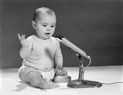 1960s Baby In Diaper Speaking Poster