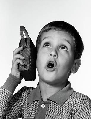 1960s Boy Holding Transistor Radio Poster