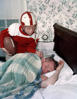 1960s Boy In Football Uniform Waking Poster