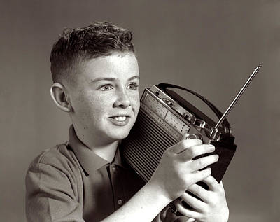 1960s Boy Listening To Portable Radio Poster
