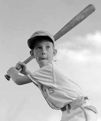 1960s Boy Playing Baseball Holding Bat Poster