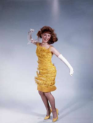 1960s Brunette Woman In Fringed Dress Poster