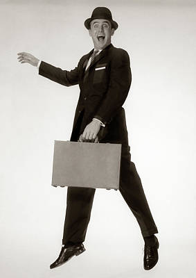 1960s Excited Man Businessman Wearing Poster
