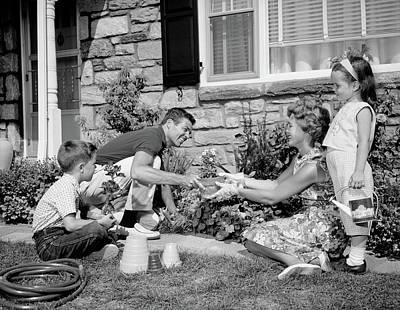 1960s Family Yard Garden Poster