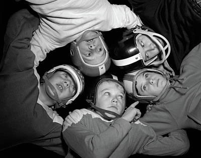 1960s Five Boys In Huddle Wearing Poster