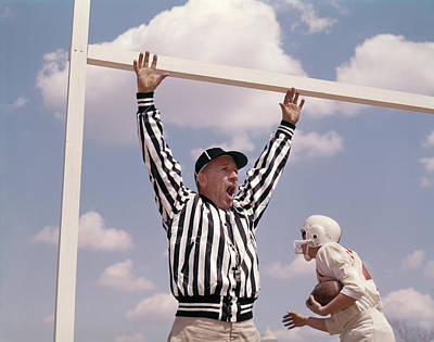 1960s Football Referee Holding Up Arms Poster